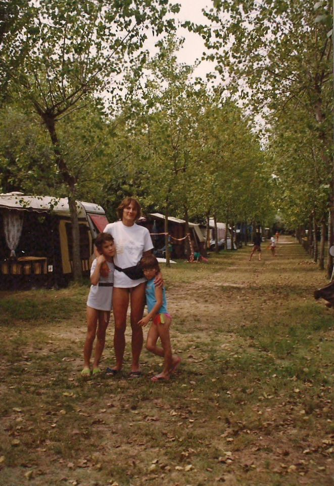 """… With our mom in the camping… I just loved walking under these trees, and mostly under those tall stone pine trees that we don't have here, in Hungary"""