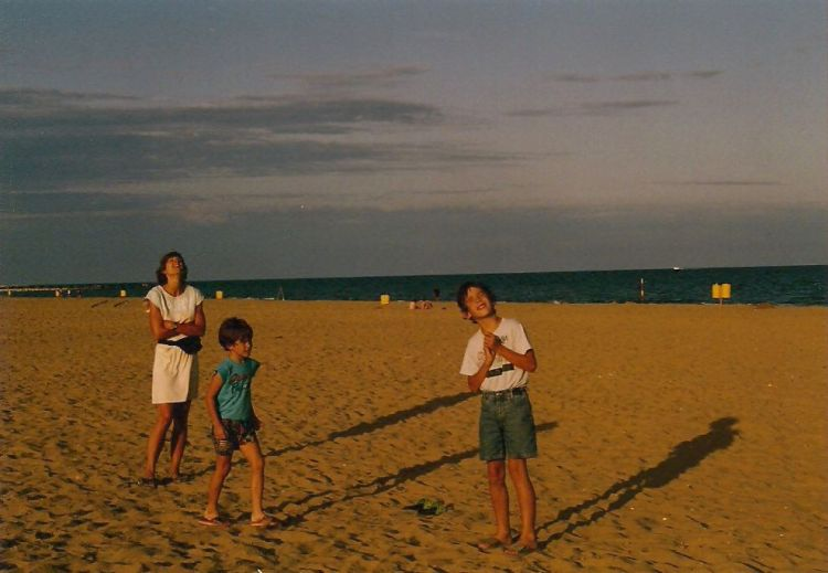 """… Our first-ever kite flying on the beach"" in Cavallino"