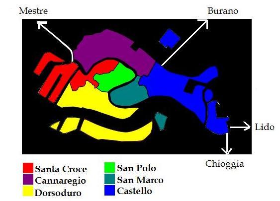 Sestrieri di Venezia - map